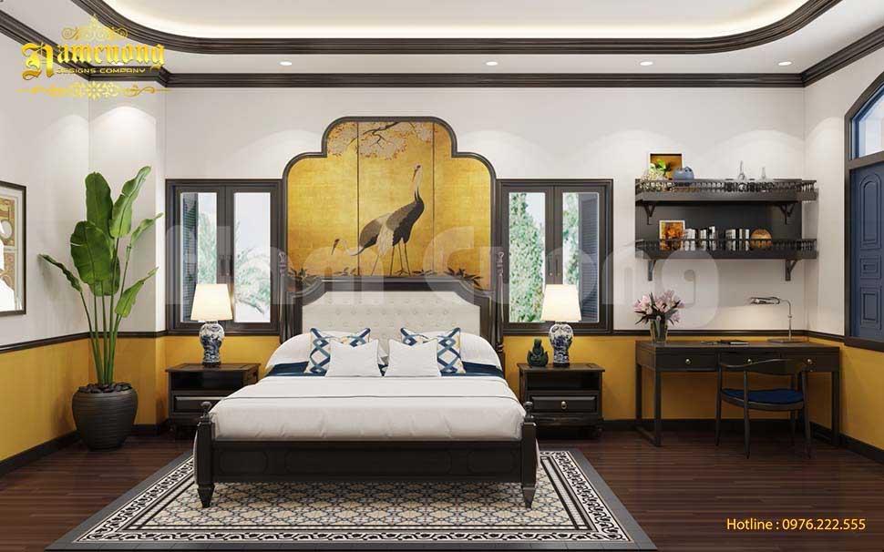 Phòng ngủ phong cách Đông Dương đẹp ấm cúng