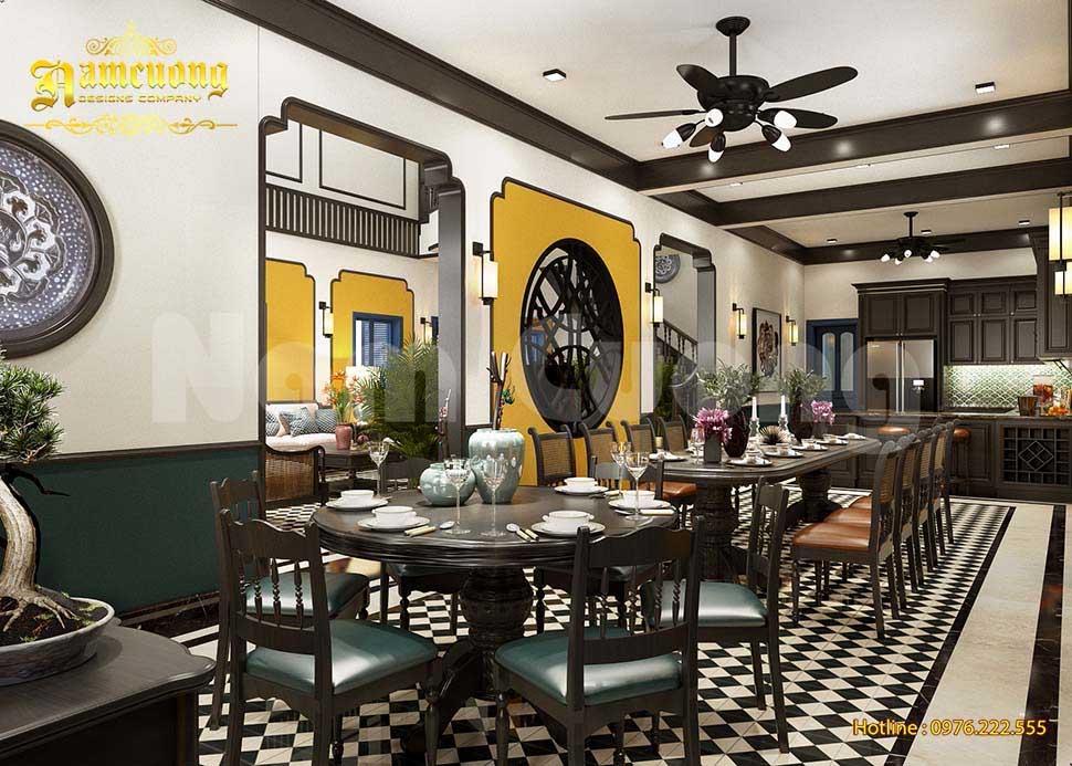 Phòng bếp ăn phong cách Đông Dương đẹp
