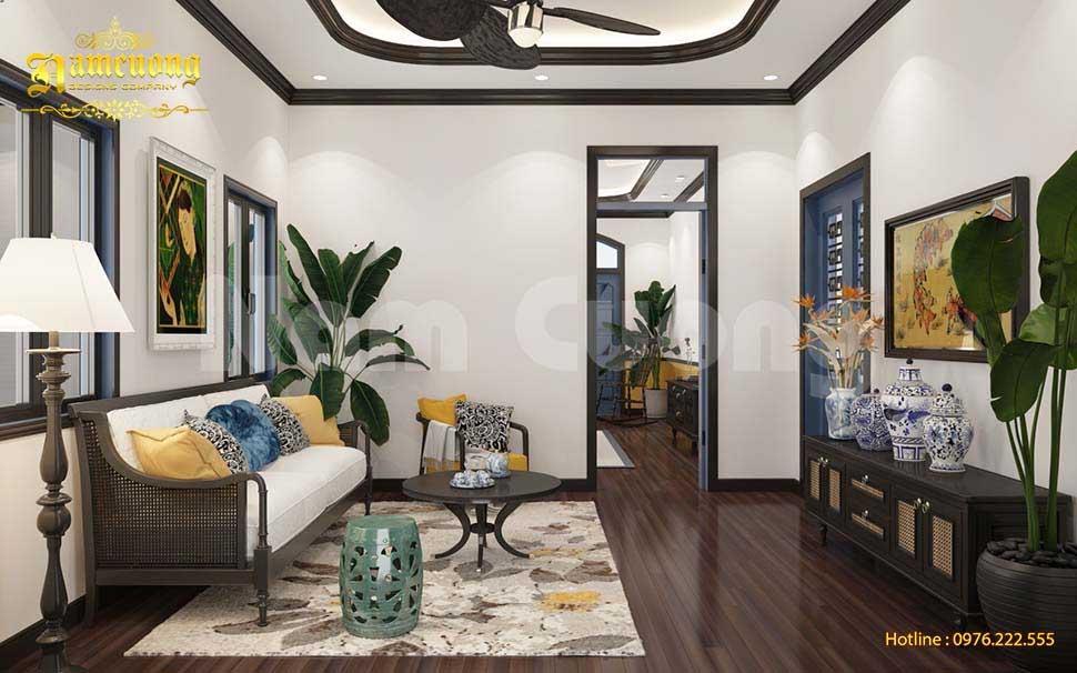 Thiết kế phòng sinh hoạt chung phong cách Đông Dương đẹp