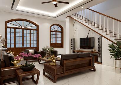 thiết kế nội thất nhà 2 tầng kiểu địa trung hải